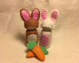Easter bunny rabbit peg doll - Australian made pure wool felt waldorf inspired