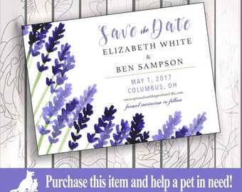 Save the Date Invitation, Custom, Personalized, Print/Digital - Lavender Fields All White