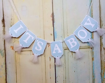 It's A Boy Banner, Baby Blue and White Baby Shower Decoration, Baby Boy Shower Banner, Gender Reveal Sign, Boy Baby Shower, Nursery Banner