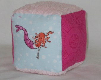 Blue Mermaids and Chenille Fabric Boutique Block Rattle