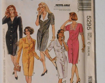Vintage 90s Front Button Shirtwaist Dress, Straight Dress Sewing Pattern McCalls 5295 Size 10 12 14 Bust 32 1/2 34 36 UNCUT