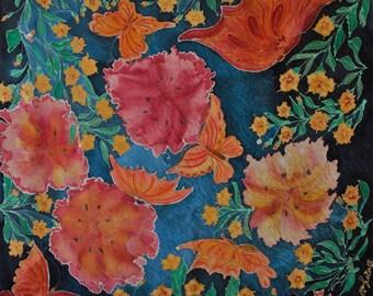 "Silk painting. Unique. ""Romantika"". Satin Jacquard. 90 x 90 cm"
