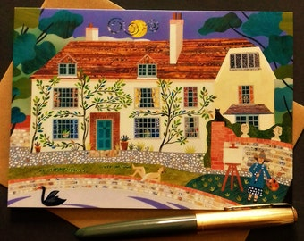 Bloomsbury Group Greeting Card·Vanessa Bell·Charleston Farmhouse·Fine Art Card·Artist·Naive·Sussex·Summer Garden·Painting·Pond·Swan