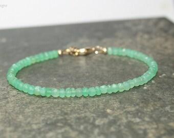 Chrysoprase Bracelet, Chrysoprase Jewelry, Green Beaded, Layering, Minimalist, Gemstone Jewelry