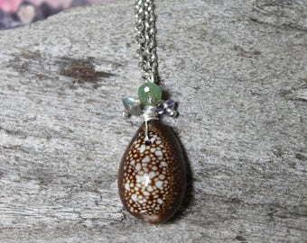 Gemstone & Seashell Necklace w/ Labradorite, Chrysoprase, Amethyst - Hawaii Cowrie Shell Necklace - Hawaiian Jewelry - Beach Mermaid Jewelry