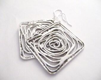 Antique Earrings, Silver Earrings, Flower Earrings, Rose Earrings