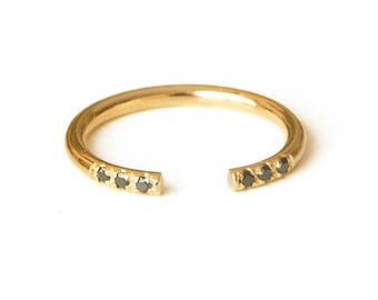 Open Ring, Gold Stacking Rings, Gold Fill Stack Ring, Gold Ring, Stacking Ring, Cuff Ring with Black CZ diamonds, Dainty Stacking Ring