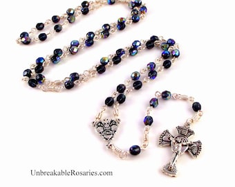 RCIA Confirmation Rosary Beads Fire Polished Montana Blue Czech Glass by Unbreakable Rosaries