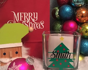 Personalized Christmas Tree Candle Holder