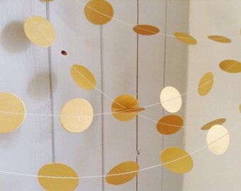 "Gold Garland, Bronze, Silver, Ivory, Wedding Garland, Party Decoration, Home Decor, Bridal Shower, Birthday, Christmas, 1 1/2 "" Circles"