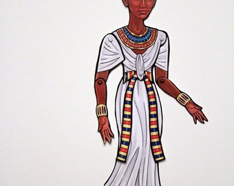 Nefertiti Ancient Egypt Queen Articulated Paper Doll, Egyptian Art