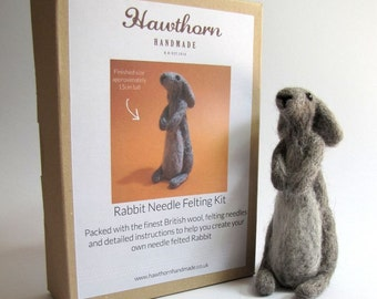 Grey Bunny Rabbit Kit - Needle Felting Craft Kit - Make Own Rabbit - British Yarn & Design - Gift
