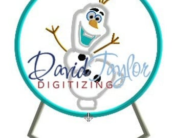 Freezing Snowman in Snowglobe - Embroidery Machine Design - Applique/ITH - Instant Download - David Taylor Digitizing