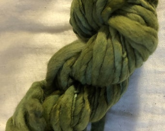 Green and Olive Mini  Hank Merino Hand spun, Hand dyed Chunky Yarn