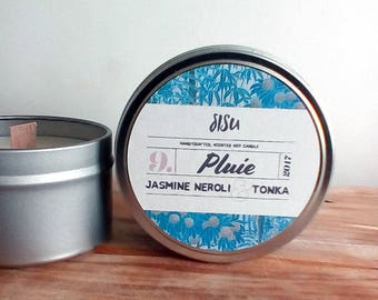 PLUIE // Jasmine, Neroli & Tonka // 8oz. Candle Tin // Hand Poured // All Natural Soy Candle // Luxury // Valentine's Gift