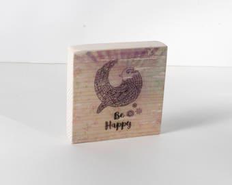 Be Happy Art Block, Art Blocks, Happiness, Boho Art, Wood Printing, Wood Block Art, Small Art, Bird, Zen