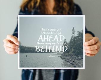 Far Better Things Ahead - Word Art Print - landscape travel inspirational decor
