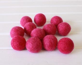 Fuschia Felt Balls 12 count