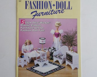 plastic canvas pattern book, Fashion Doll Furniture in plastic canvas, House of White Birches craft leaflet