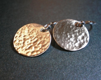 Hammered Disc Earrings - Solid Argentium Sterling Silver - Medium Size