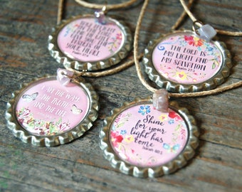 Christian Gifts, Christian Jewellery, Bible Verse Bottle Cap Necklaces, Christian Jewelry, Scripture Jewelry, Christian Gifts for Women