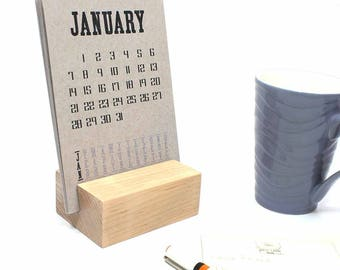 2018 Desk Calendar with Wood Block Stand, Monthly Desk Calendar, Desk Calendar Stand