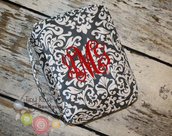 Personalized Gray Damask Bible Carrying Case - Your Choice of Monogram or Name
