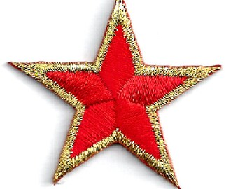 "ONE DOZEN - 12 - Stars Red/Gold - School - Uniforms - Costumes - Flags -  Embroidered Iron On Patches - 1 5/8""(4cm)"