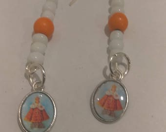 Pope Earrings with White and Orange Bead