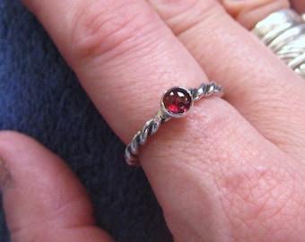 Garnet Twist Stack Ring