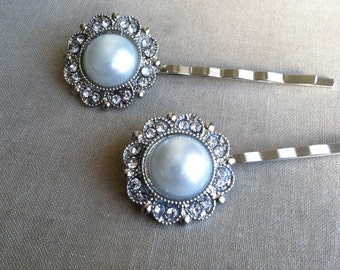 Pearl Hairpins 2 pc, ivory Bridal Pearl hairpin, vintage, Bridal hair accessories, bridal hairpin, bobby pin FILIGREE PEARL SILVER wholesale