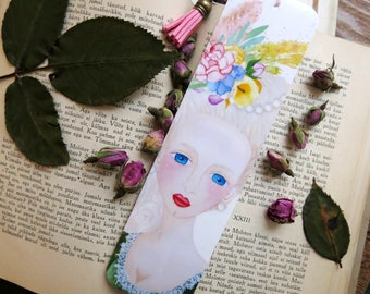 Marie Antoinette Bookmark // Book Accessories // Watercolor Illustration // Laminated Bookmark with Tassel