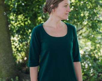 Womens Scoop Neck Cotton Clothing T Shirt Medium Sleeves Made in the USA- Made to Order - Everyday