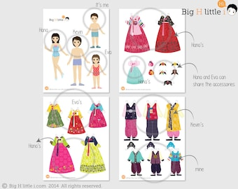 Paper dolls / Korean Traditional Costumes / 4 Dolls 14 Costumes