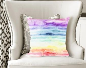 Watercolor Rainbow Decorative Pillow, Soft Velveteen Modern Decor printed from Original Art - multiple sizes