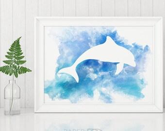 DOLPHIN ART, printable art, wall art, watercolor print, nautical kids room, beach house print, printable art prints, dolphin painting
