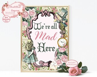 Alice in Wonderland We're All Mad Here Print, Wonderland Wall Art, Nursery Decor, Wonderland Print, Printable Wall Art, Mad Hatter