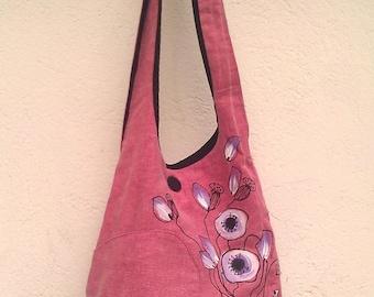 Shoulder bag poppy, feminine, romantic, pink lilac spring