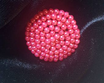 Red Beaded Shank Button 29 mm 1 1/4 inches 45 lg