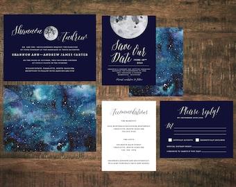 Moonlight Wedding Invitation Starry Night Wedding Invitation
