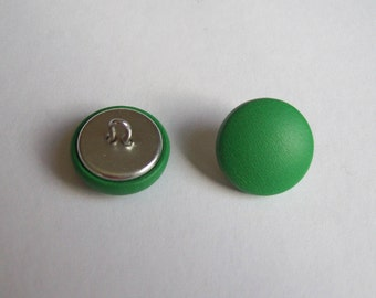 6 20mm Green leather covered buttons