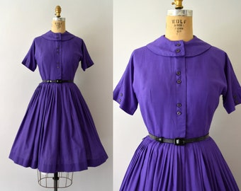 Vintage 1950s Dress - 50s Bobbie Brooks Deep Purple Fit and Flare Dress- Small