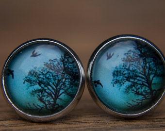 Tree Earrings, Bird Earrings, Tree and Bird, Tree Studs, Glass Dome Earrings, Stud Earrings, Small Studs, Post Earrings, Blue Earrings
