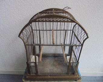 beautiful French vintage bird cage ca 1900/brass bird cage with 2 porcelain feeders/Canary cage/wire cage