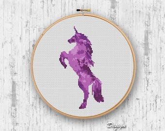 Unicorn Cross Stitch Watercolor Pattern Modern Cross Stitch Unicorn Silhouette Galaxy Unicorn Chart Violet Decor Living Room Pattern PDF