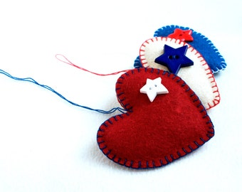 Patriotic ornament, felt heart, set of 3, star button, red, white, blue, colours of American, 4 of July decor, Christmas,  Americana Style