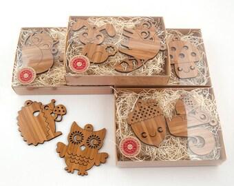 Wood Animal Ornaments: Woodland Christmas Owl, Fox, Acorn, Squirrel, Hedgehog, Raccoon, Bunny, Mushroom, Bamboo Wood (Choice of 2)