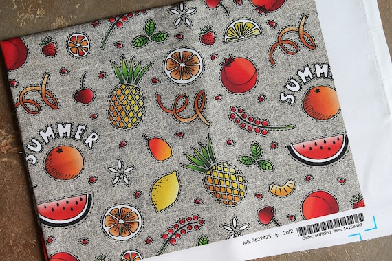 "Fabric coupon linen and cotton original ""Summer fruits"""