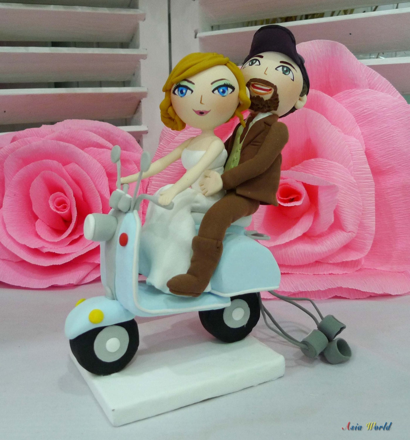 Wolf Islander scooter Wedding Cake topper clay doll Bride