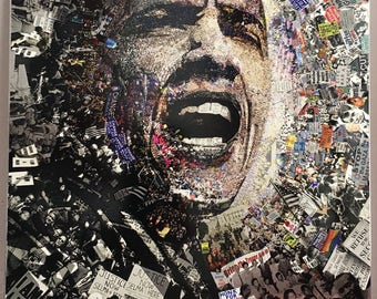 """Title: """"I Am Not A Perfect Man"""", 8 1/2 x 11 inch Obama on Aluminum"""